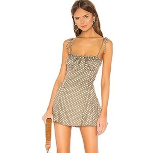 MAJORELLE (Tahoe Dress in Green & White Dot in XS)
